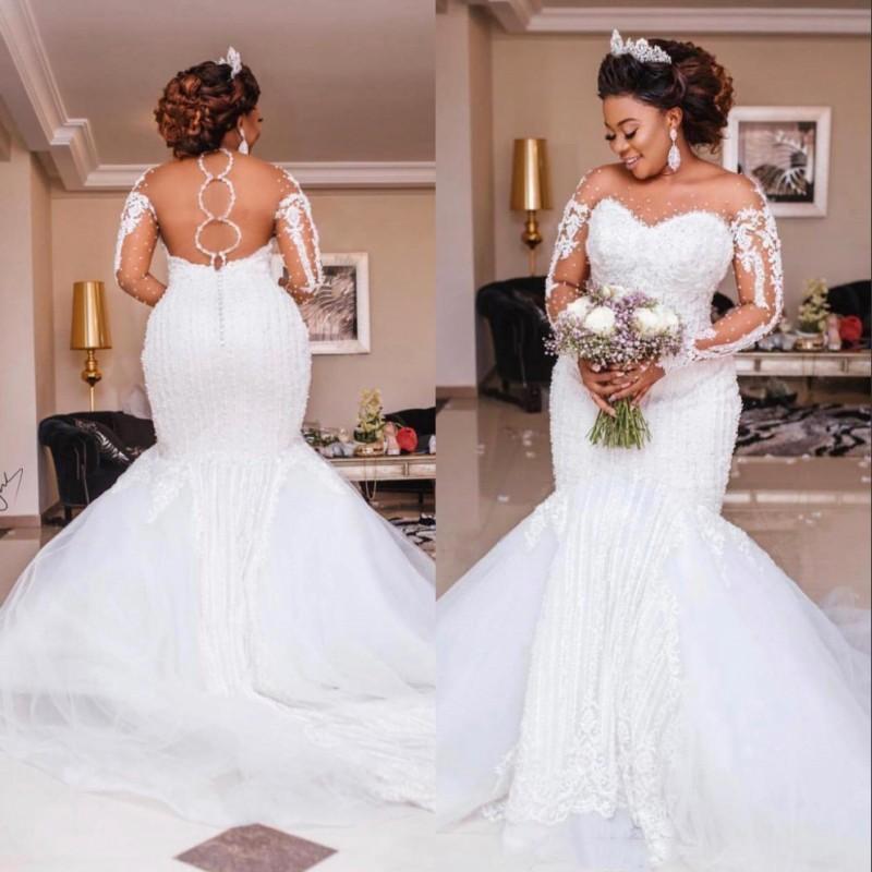Luxury Mermaid Wedding Dresses 2020 Sheer Long Sleeve Sheer Neck Crystal Beads Chapel Train African Arabic Bridal Gowns Plus Size Custom Wedding Designer Dresses Wedding Dress Sexy From Sarahbridal 206 58 Dhgate Com