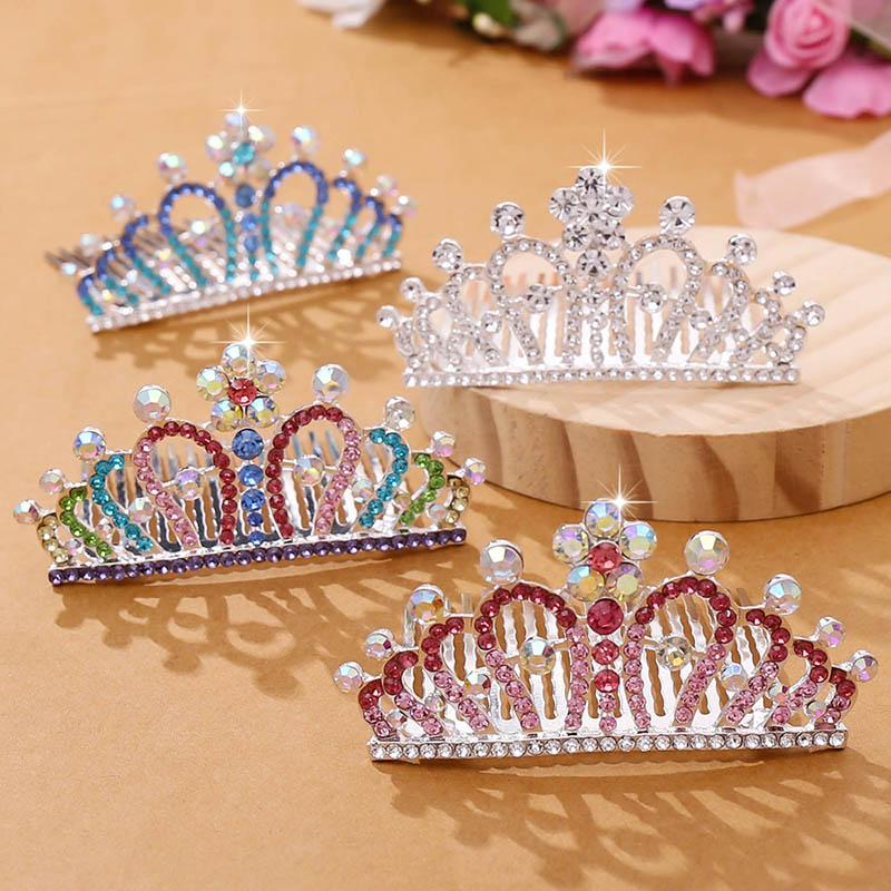 FORSEVEN Mini Crowns for Kids Hair Jewelry Coloful Shining Crystal Hair Combs Small Tiaras Girls Birthday Party Princess Diadem