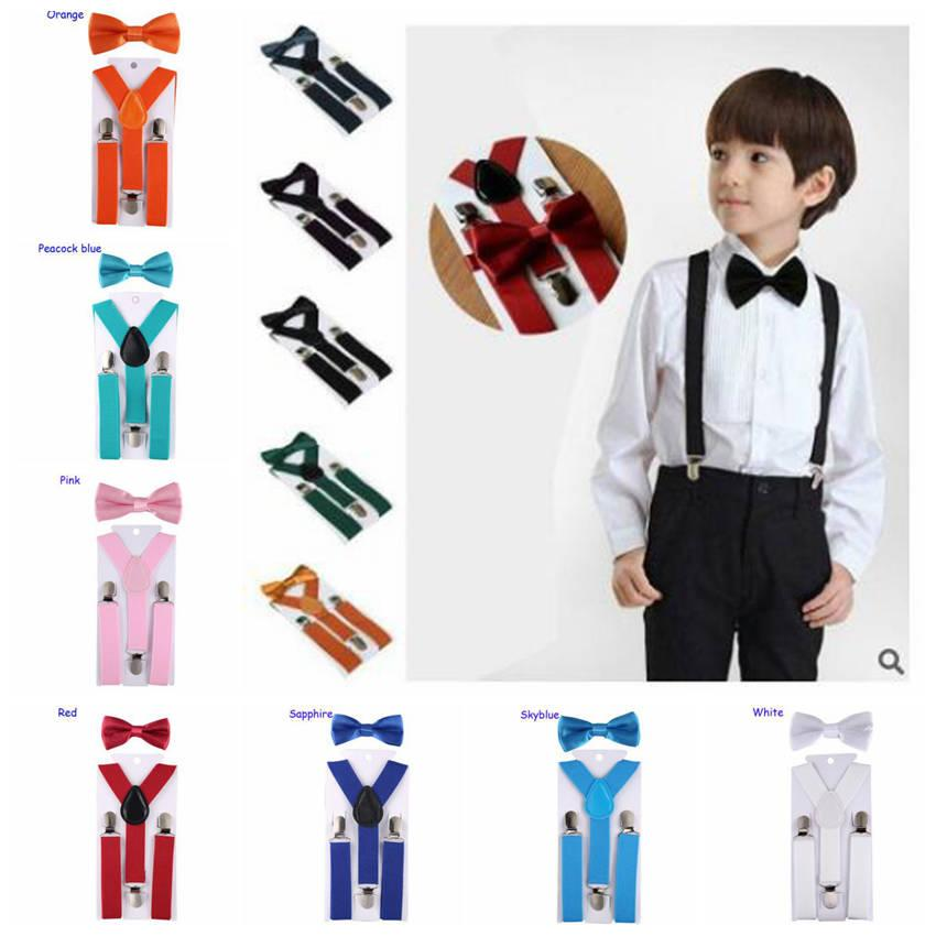 Toddler Clip-on Suspenders+Bow Tie Boys Girls Clothes Elastic Adjustable Braces