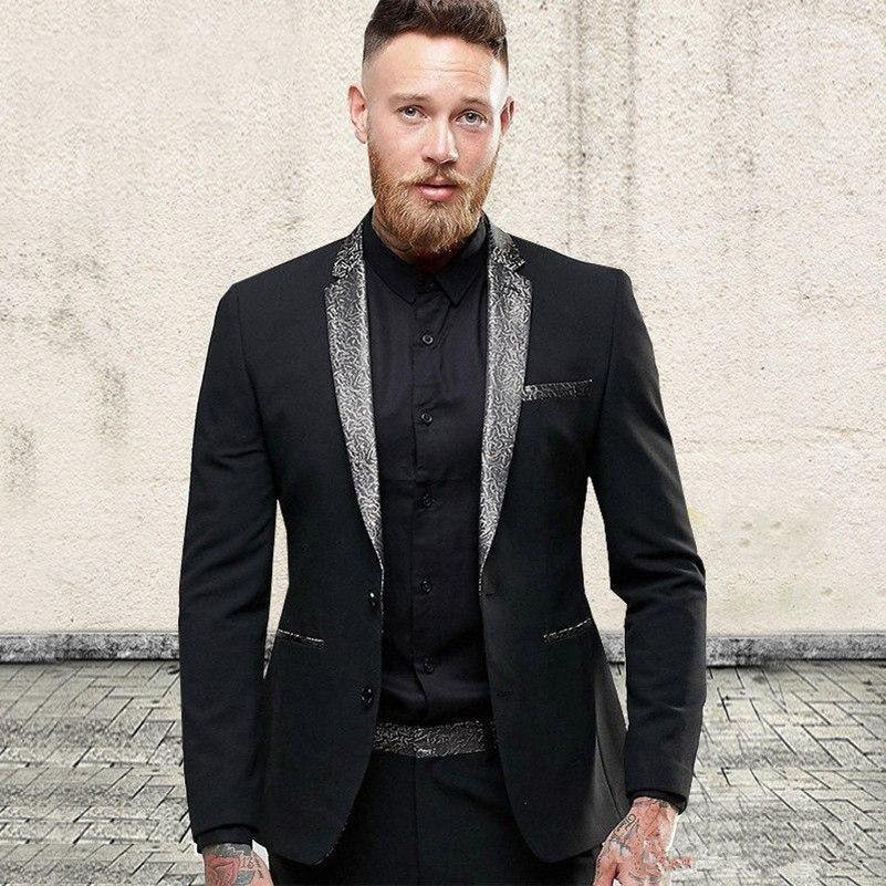 Nouveau design élégant smokings marié deux boutons noirs Notch Lapel Groomsmen meilleur homme costume costumes de mariage pour hommes (veste + pantalon + cravate) 4144