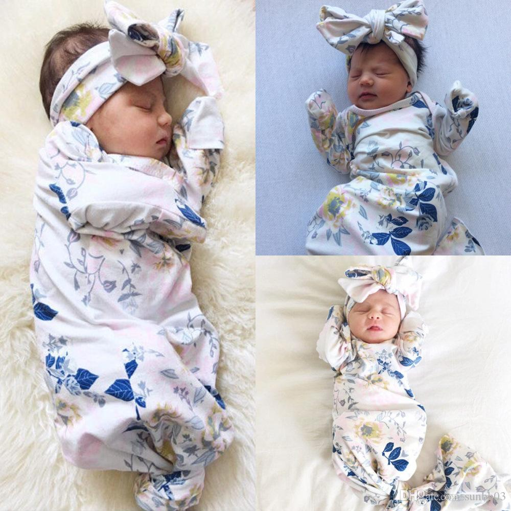 Infant Baby Swaddle Sleeping Bags Baby Boys Girls Florals Muslin Blanket + Headband Baby Soft Cocoon Sleep Sack 2pcs Set 15059