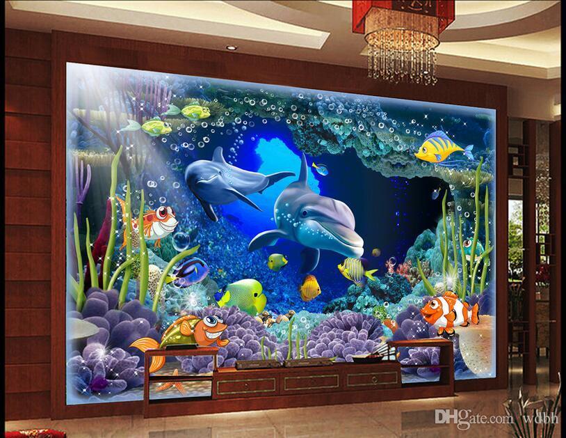 WDBH 3d papel de parede personalizado foto Underwater World Dolphin Caverna Coral sala escritório home decor 3d murais de parede papel de parede para paredes 3 d