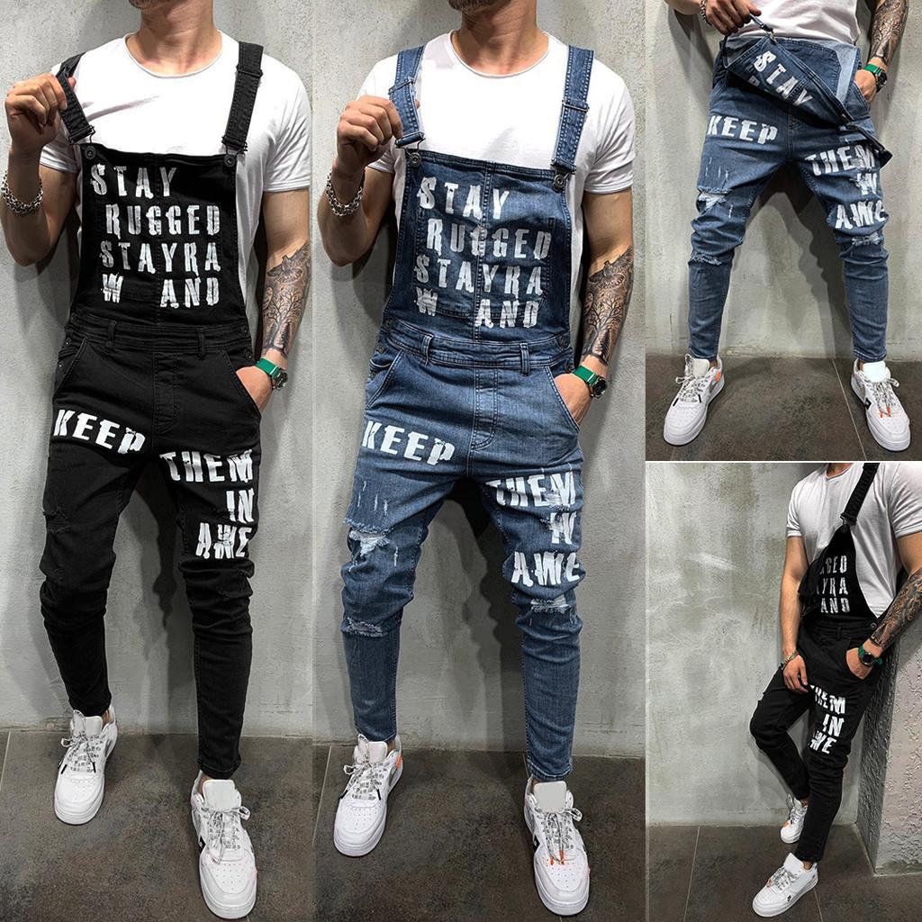 2019 Fahsion Mannen Casual Losse Pocket Salopette Comfortabele Denim Tenues Salopette Plus Big Size Jeans Man Blauw Broek