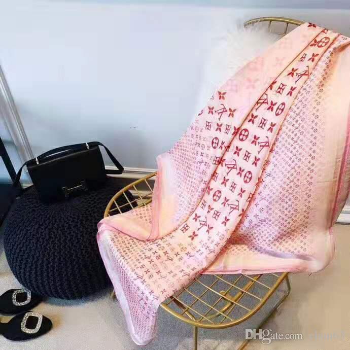 Nouvelle marque 100% soie foulard femmes marque taille écharpe châle floral 180x90cm mode cadeau longues écharpes pour les femmes en gros