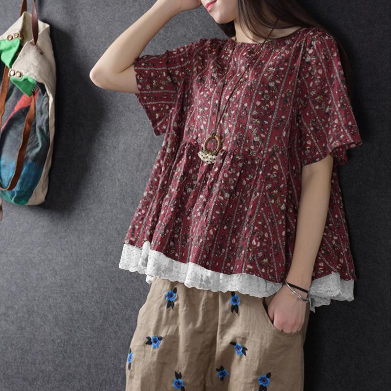 2019 Zanzea Verano Cuello Redondo Camisa de manga corta Mujeres Retro Estampado floral de encaje Crochet Party Blusa Casual Loose Work Top S-5xl Y19062601