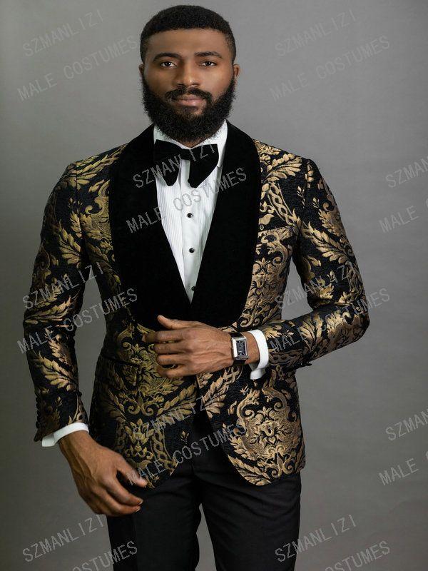 2020 or élégant Noir Mode Floral Hommes Costumes 2 pièces marié Costume Smoking Costumes de mariage de veste de smoking pour les hommes Best Man Blazer