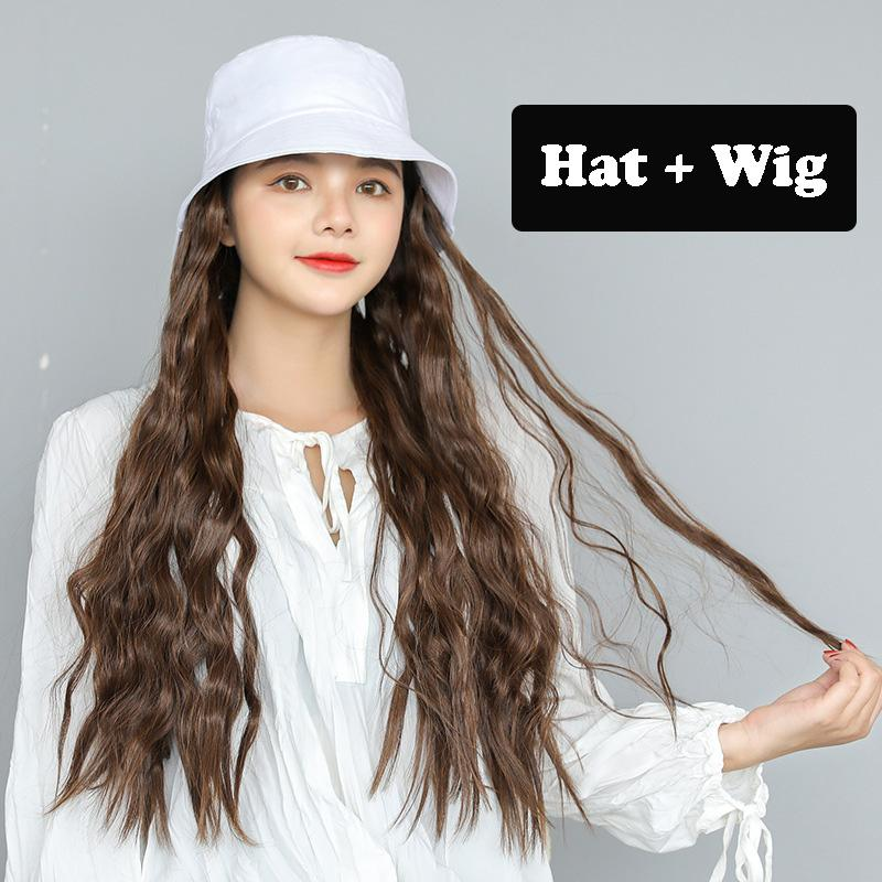 2019 Ladies Winter Cap Fisherman Hat Wool Roll Wig Long Wavy Synthetic Hair New Design All-in-one Wig Hat