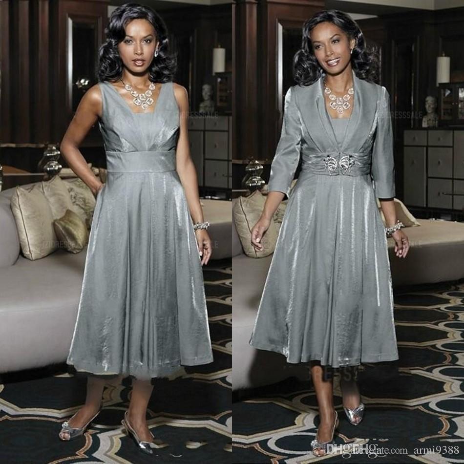 Anne Artı Boyutu Ceket Çay Boyu Kare Boyun Boncuk Kanat Wedding Guest Elbise ile Gelin Elbise Gümüş İki Adet Anne
