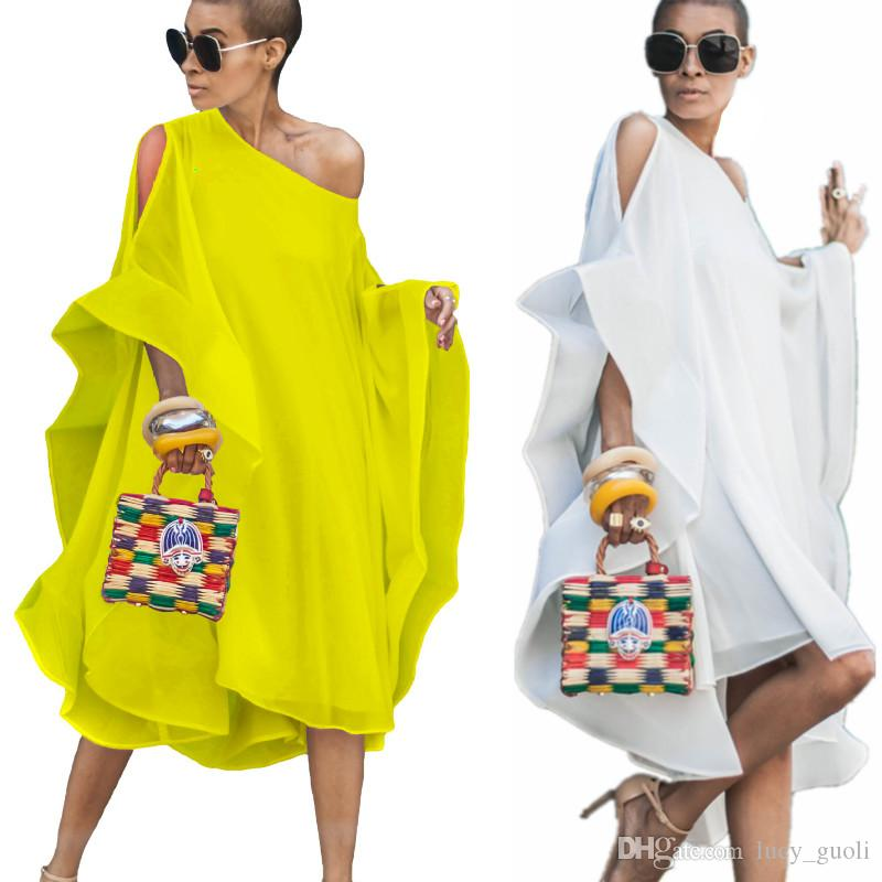 2019 Summer Long Loose Plus Size High Street Beach Chiffon Dress Hip Hop Shoulder Batwing Sleeve Slash Neck Maxi Vestido Elegant Party Dress