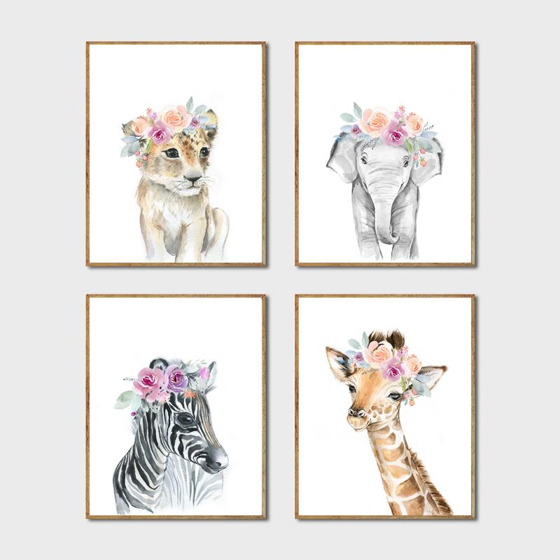 Home & Garden Animals Floral Crown Art Decor Canvas Painting , Baby Girl Prints Animal Giraffe Elephant Lion Wall Art Picture Nursery Poster
