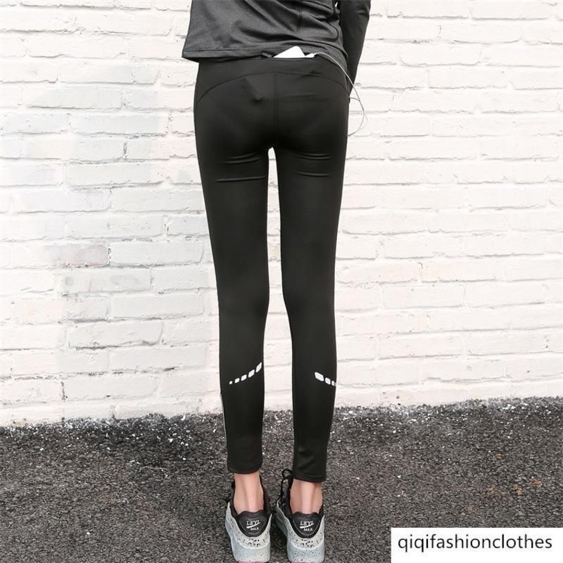 Produto Yoga Serviço velocidade seco fitness Calças Feminino Correndo Sports Calças absorção de umidade transpiração Noite Run Slim Fit Marca bolso
