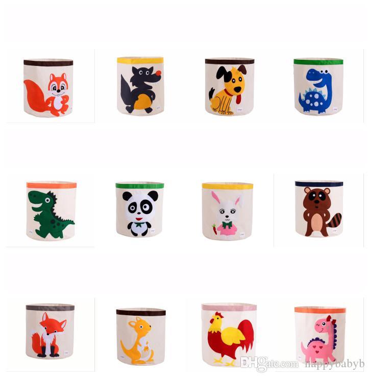 Cartoon Animal Printing Drawstring Storage Bins Bag Kids Toys Storage Baskets Washable Buckets Laundry Bag Dirty Clothing Organizer