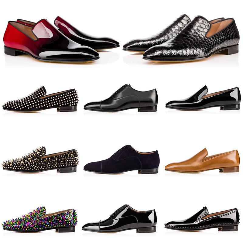 럭셔리 남성 디자이너 정장 구두 레드 바지 캐주얼 신발 매트 특허 가죽 라운드 발가락 슬립 - 스파이크 플랫 비즈니스 옥스퍼드 슈즈 39-47을