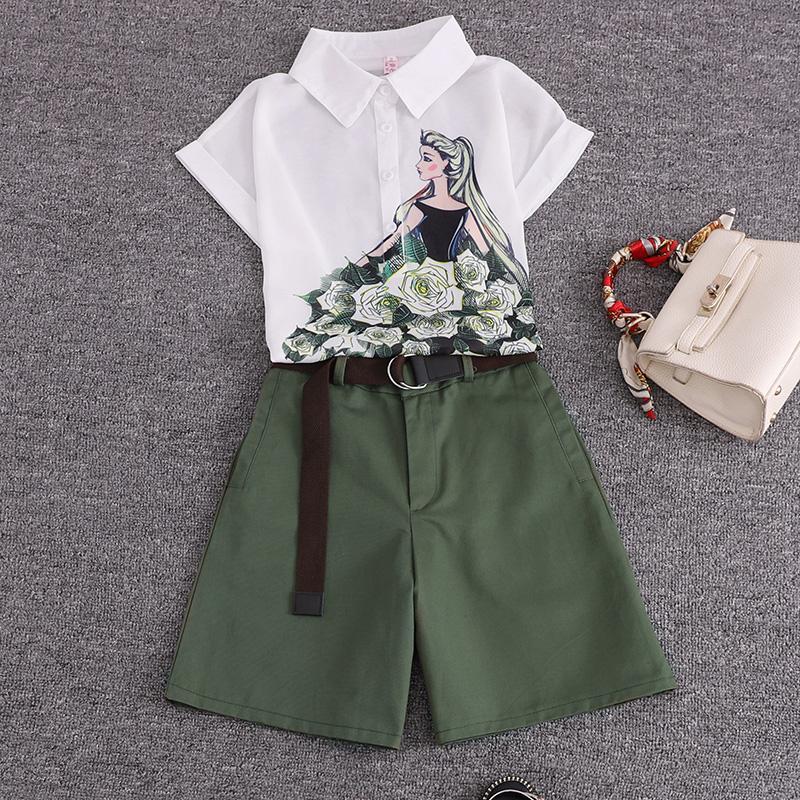summer 2 pieces suits girl print chiffon blouse shirt women tops + shorts set Women two piece set tracksuit With Belt