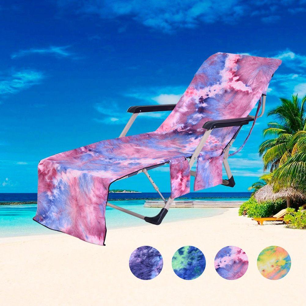 넥타이 염색 마이크로 화이버 비치 타월 안락 의자 덮개 다기능 의자 커버 비치 타월 라운지 의자 커버 DOM1572