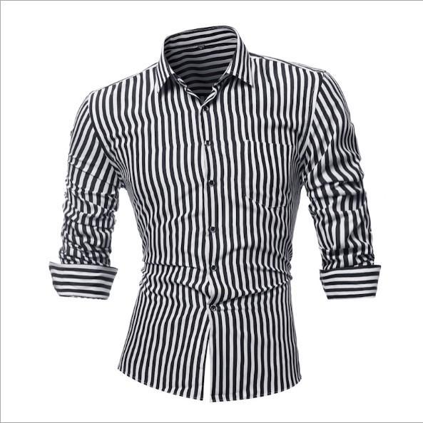 Mens Camicia Casual camicia primavera e l'autunno maschile a maniche lunghe a righe Slim Grande Maglietta Asiatica Misura M-4XL