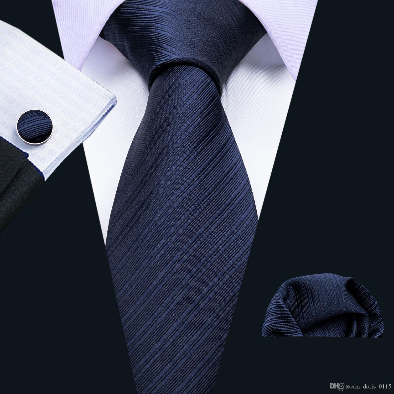 Azul marinho seda Jacquard gravata para homens com lenço e Listagem do Novo casamento punhos Negócios Hot Atacado frete grátis N-5087