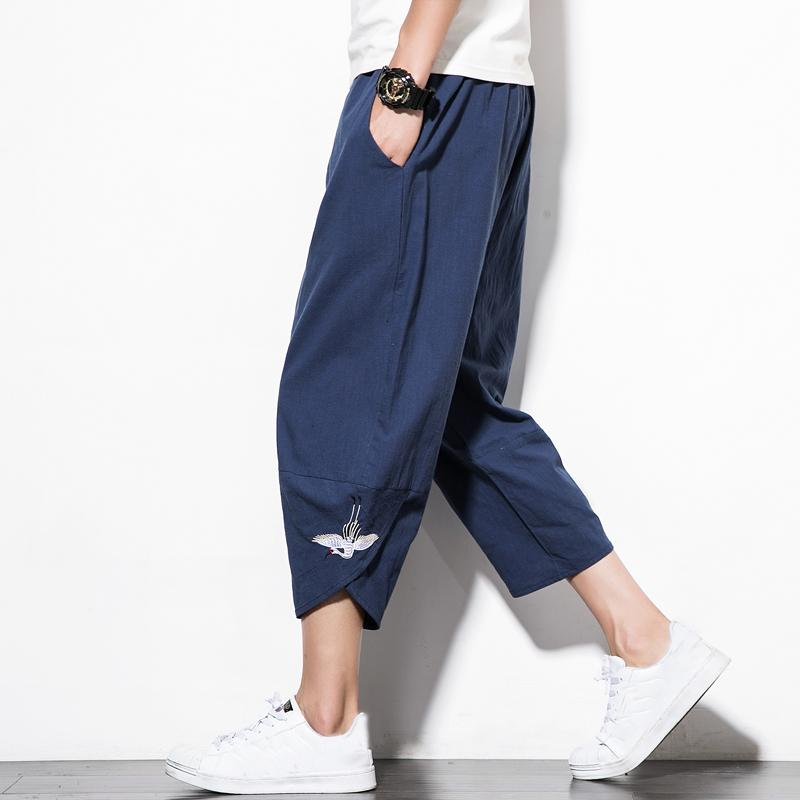 Pants 2018 calças Novo Chinês Estilo Male guindaste Bordado Harem Homens perna Algodão Linho Bermuda Masculina masculinos QT4013-M76LY191112