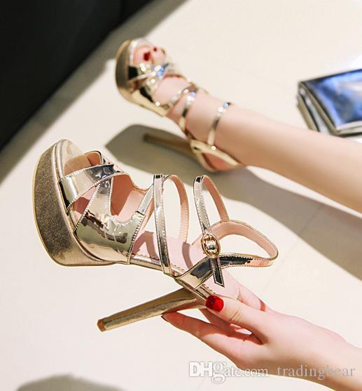 Büyük küçük boyutlu 33 41 42 43 40 altın, gümüş platformu yüksek topuklu düğün ayakkabı lüks kadın tasarımcı burnu açık topuklu geline