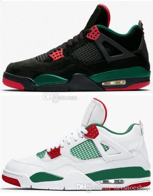Men & Women 4 4s Black Pizzeria White Pizzeria Italy GC Black Green Red White Basketball Shoes Men Sports Sneakers