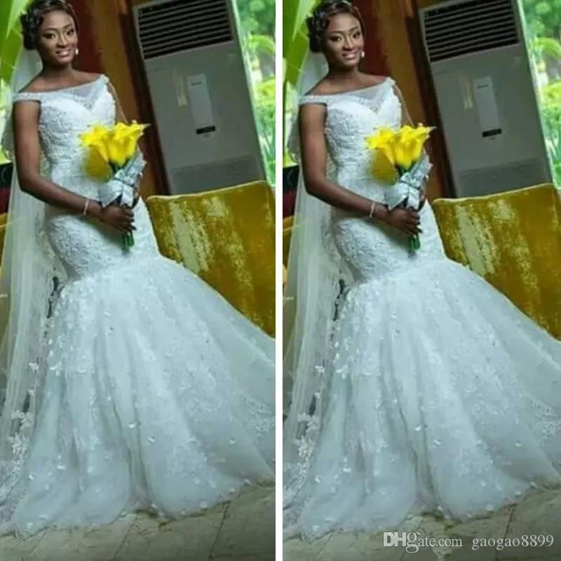 Abiti da sposa in pizzo Mermaid Plus Size 2019 Scoop Neck Neck African Bridal Gown Abito da sposa Pizzo Up Corsetto Abiti da sposa formale Abiti Abiti DE MARIEE