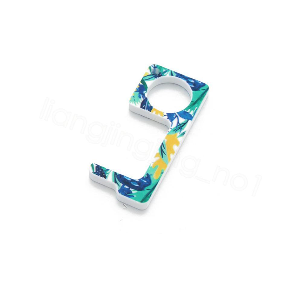 Temassız anahtarlık operner kamuflaj leopar akrilik püskül baskılı kolye EDC açıcı pres dokunmatik olmayan portatif asansör aracı FFA4115-5