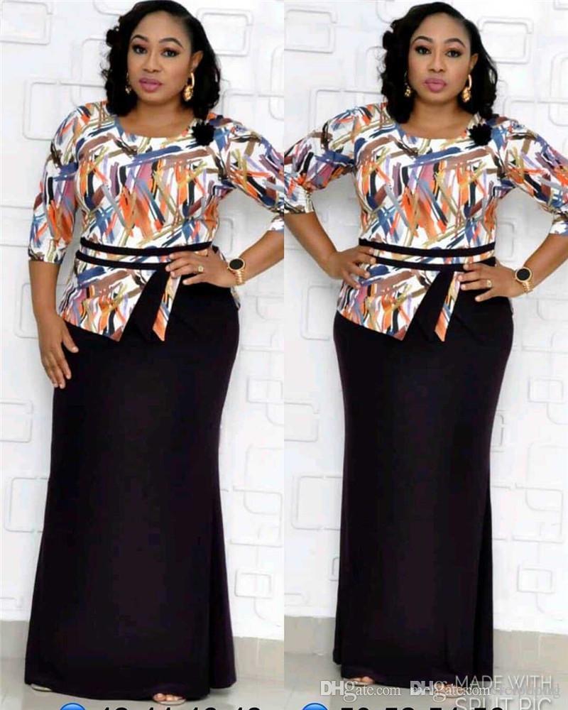 Artı boyutu Tasarımcı Kadınlar Elbiseler Örgün Elle Baskılı İnce Yarım kollu Mürettebat Boyun Maxi X-Uzun Modelleri Kadın Moda Elbiseler
