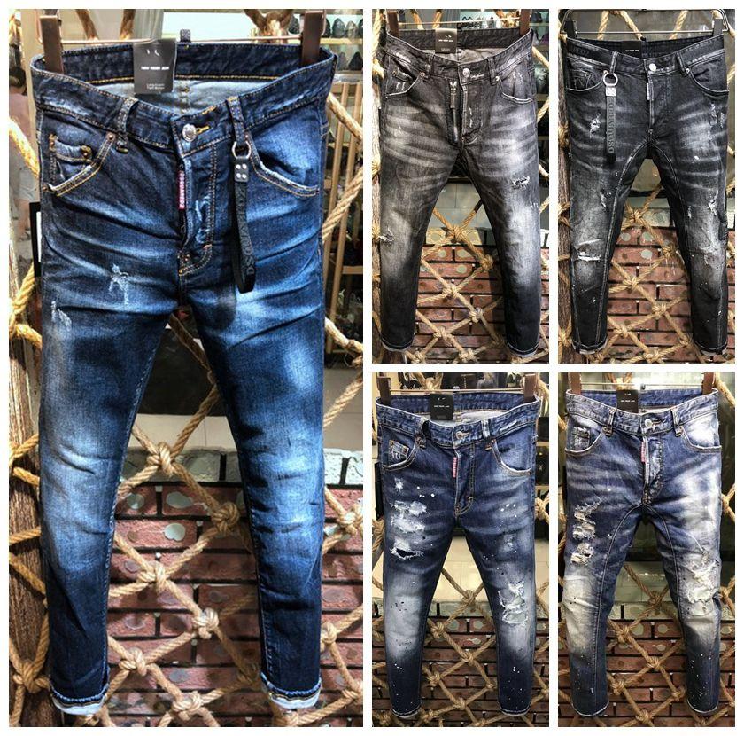 2020 calças de marca mens luxo designer italiano dos homens do desenhista jeans rasgado listrado azul afligido Longa Light Jean calças moda Calças