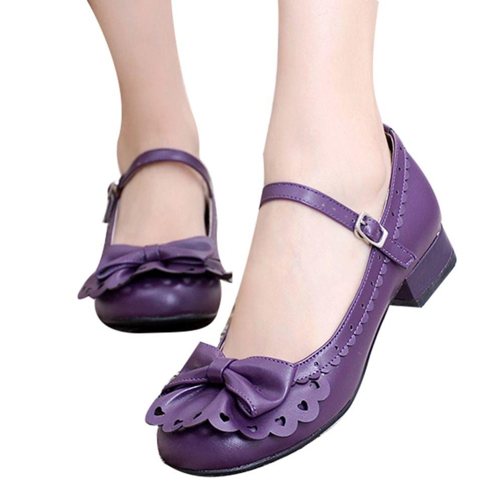 Bayanlar Yeri Prenses Vintage Stil fırfır Trim Papyon Mary Jane Düşük Topuk Ayakkabı Sweet Lolita Cosplay Ayakkabı SH190929