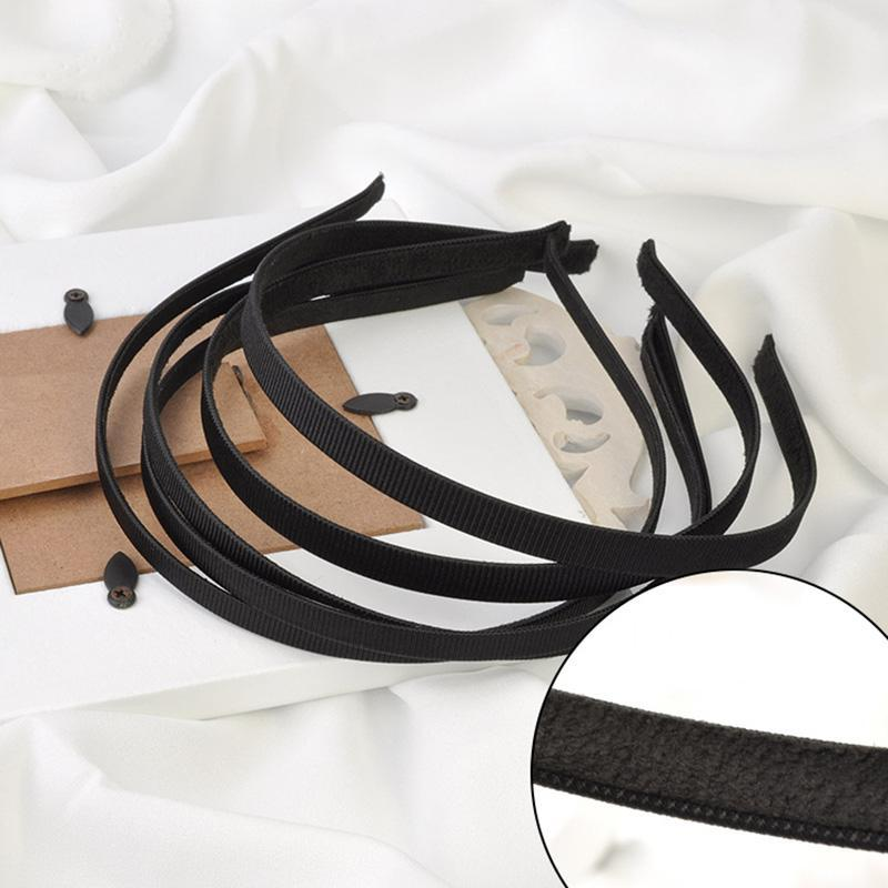 10pcs 5 milímetros 10 milímetros Preto fita de gorgorão coberto Plain metal Headbands Com Velvet Voltar Forrado fio Hairbands Acessórios para Cabelo DIY