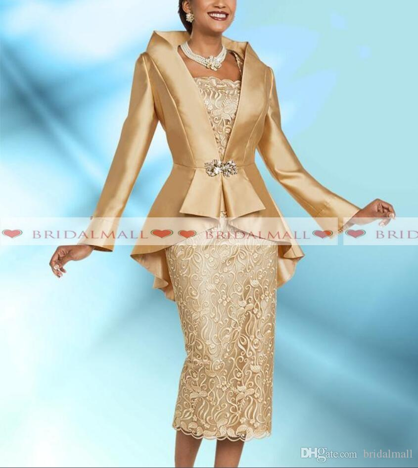 Plus Size 2 Pieces Gold Mother Of The Bride Dresses With Jacket 2019 Elegant Tea Length Long Sleeve Wedding Guest Dress Formal Evening Gowns