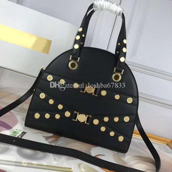 2020 Nuova borsa del progettista di alta qualità della moda di modo delle donne borsa di cuoio reale Bowling Bag hardware di alta qualità, pacchetto completo