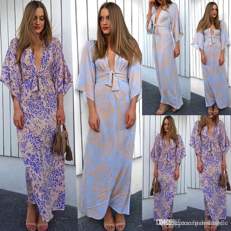 Frauen-Sommer-Wrapped Kasten-Kleid Lace-up Sexy Blumenmuster Medium Hülse V-Ansatz Kleider Mode, Kleidung, Lässige Kleidung
