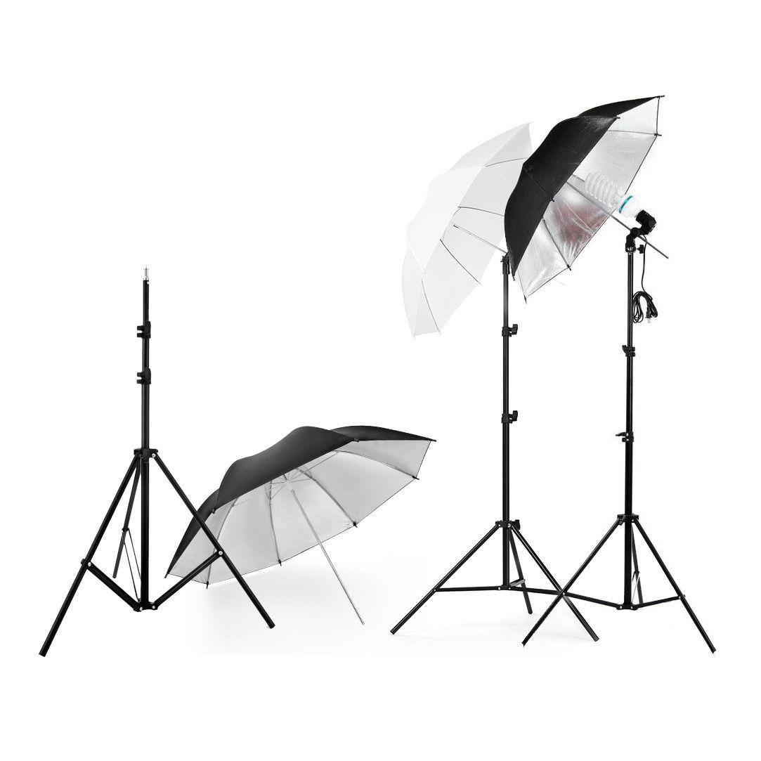 Photography Photo Umbrella Lighting Kit white soft umbrella+Black Reflective Umbrella + 2m Light Stand + Light Bulb + Lamp Socket