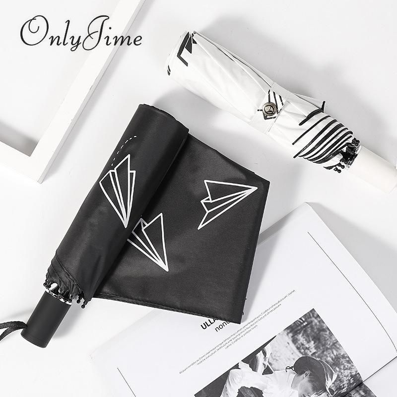 Parapluie double usage Jime Paper Plane Three Rain et Sun Double écran solaire pour femme Anti-UV Petit Parapluie Revêtement Noir Frais