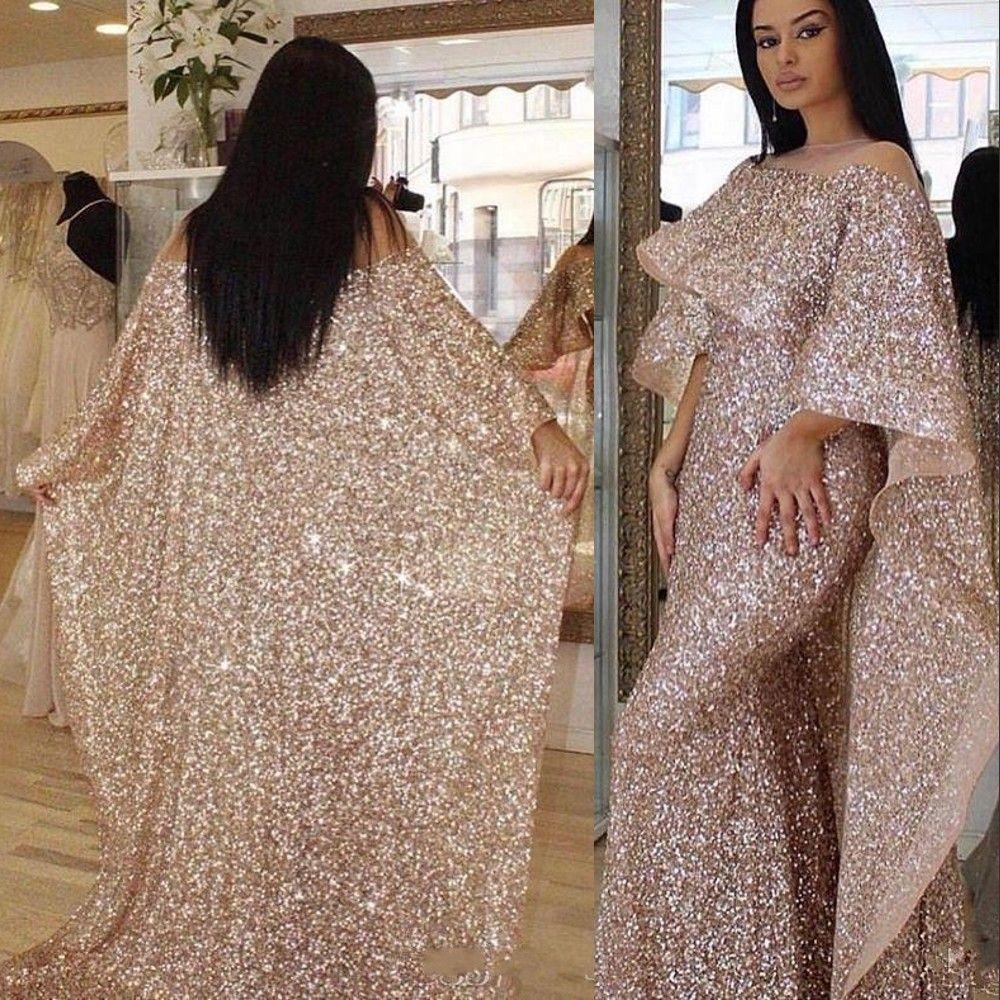Barato Bling cor-de-rosa ouro lanteerida sereia vestidos de baile ilusão pescoço longo cabo rebuffles Oriente Médio Árabe Personalizado Plus Size Vestidos de Noite