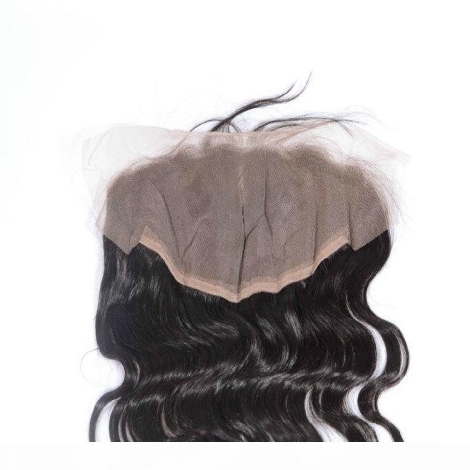 Cabelo Humano na da brasileira Lace frontal Encerramento 13x6 onda do corpo Nautral cores 130% Densidade branqueados knots com cabelo do bebê
