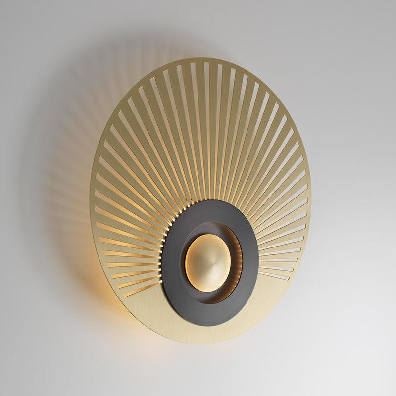 Design new style grid sector new Chinese all copper light round model room hollow wall lamp txh926