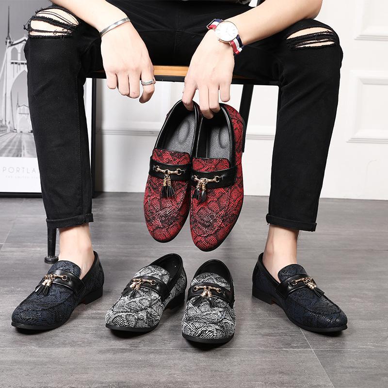 Big Size 6-12 Man nappa Snakeskin scarpe modello maschio convenzionale scarpe casual in pelle Slip-on Scarpe nightclub partito Nuovo