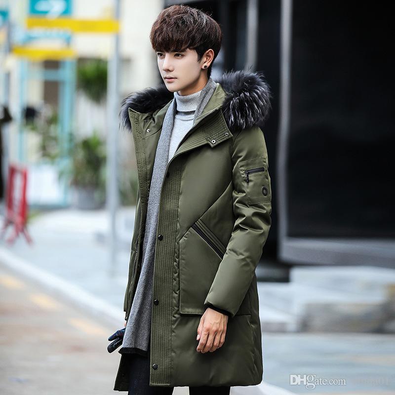 Men's Down Parkas Mens Collar Acket Winter Casaco Hooded Casacos Homens Ao Ar Livre Moda Casual Engrossar M-3XL