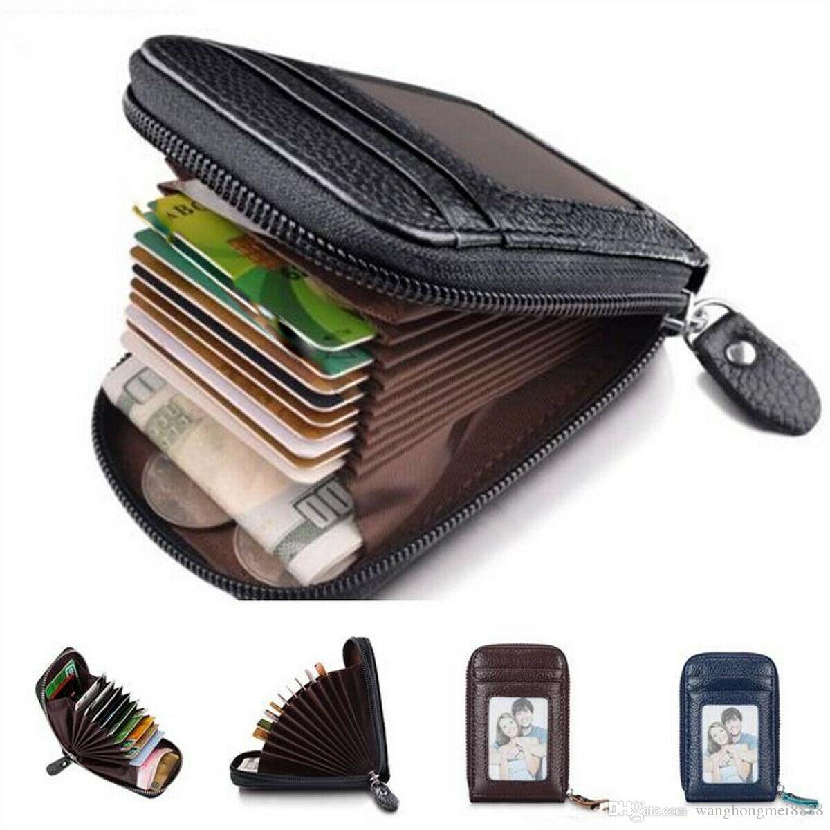 1 Adet Mini erkek Moda Cüzdan Çanta Kılıf Hakiki Deri Kredi Kartı Tutucu RFID Engelleme Fermuar Ince Debriyaj Tutucu Çanta