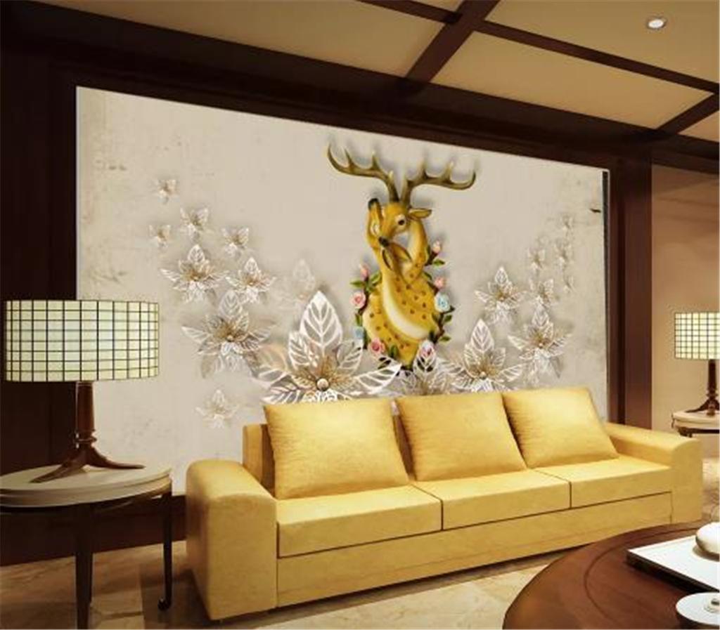 3d duvar kağıdı, Avrupa Ve Amerika Rüzgar Ve Anne Aşk Derin Sika Geyik Salon Yatak odası Arkaplan Duvar Dekorasyon Duvar Duvar Kağıdı