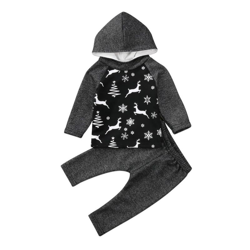 2pcs Toddler Baby Girls Boys Hooded T-shirts Top Pants Outfits Deer Clothing Set