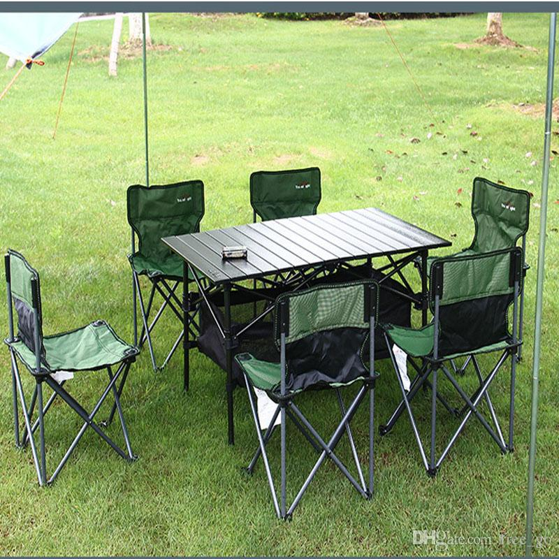 Foldable Table And Chair Set.Outdoor Folding Table 6 Chair Set 4 6 People Folding Table And Chairs Barbecue Camping Self Driving Equipment Patio Swings Folding Beach Chairs From