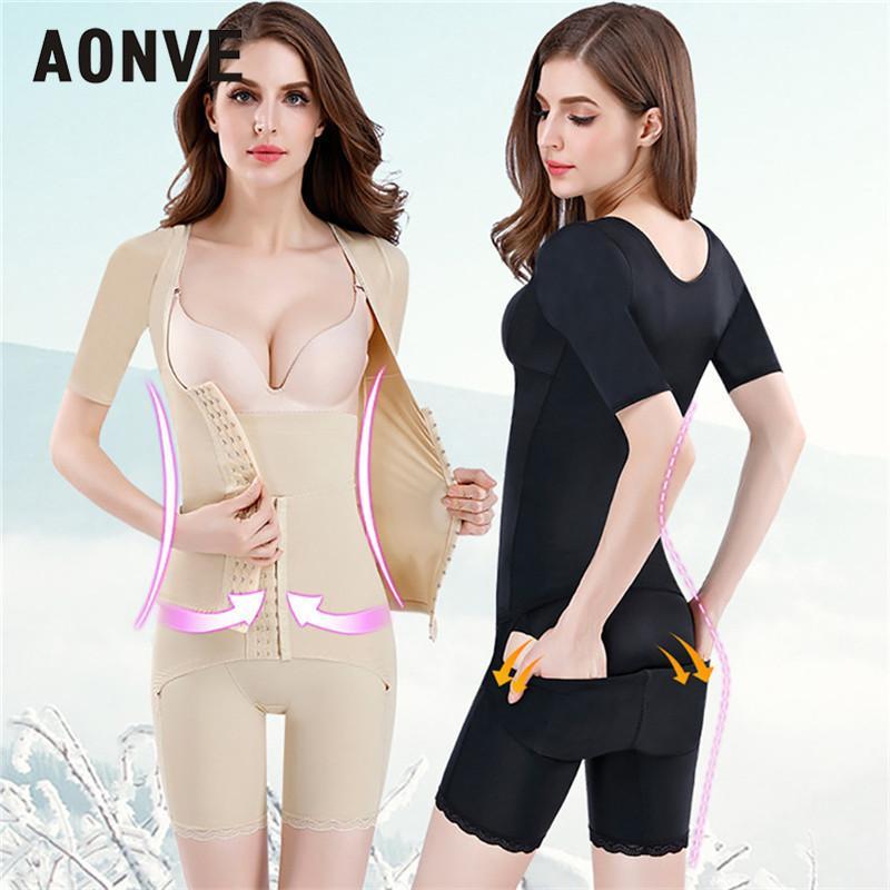 Aonve Frauen-Bindemittel und Shapers Sexy Lingerie Unterwäsche abnimmt Bodysuit Split Anzug Short Sleeve verlieren Größe Gewicht plus XXXL