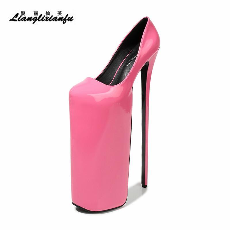 LLXF Catwalk Shows Nightclub Round Toe 30cm Super High Thin Heels Shoes woman Stiletto female 20cm platforms Sliver Buckle Pumps