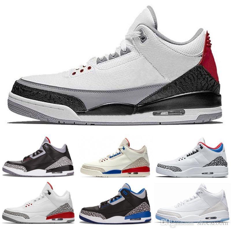 3 Siyah beyaz Çimento üç Retro Basketbol Ayakkabı tinker spor mavi kurt gri kasırga kırmızı 2019 sneakers 3 s erkek eğitmenler Michael 8-13 retro Retros