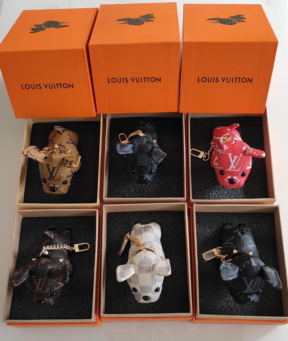 مربع حار بيع مصمم عالية الجودة الفاخرة سلسلة المفاتيح أزياء سيارة الحلي الفولاذ المقاوم للصدأ الكلب مصمم سلسلة المفاتيح دون
