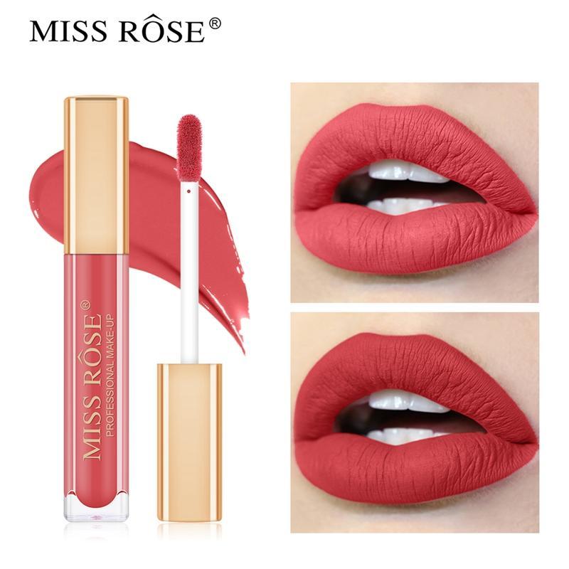 MISS ROSE Матовый Lipgloss Русский Красный цвет Продолжительное водонепроницаемый макияж губной помады женщина губ губная помада Easy Tint