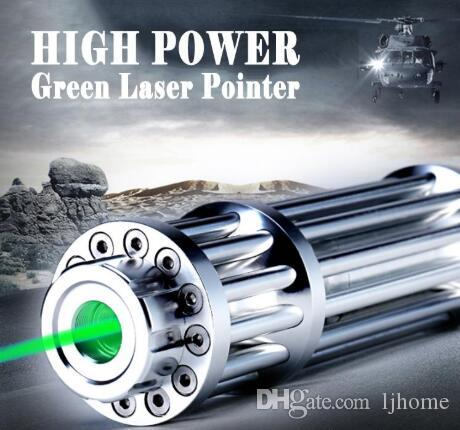 Neue 532nm Grüne Laserpointer Taschenlampe Einstellbarer Fokus Match Lazer Pointer Pen + 5 Sterne Caps Silber Farbe